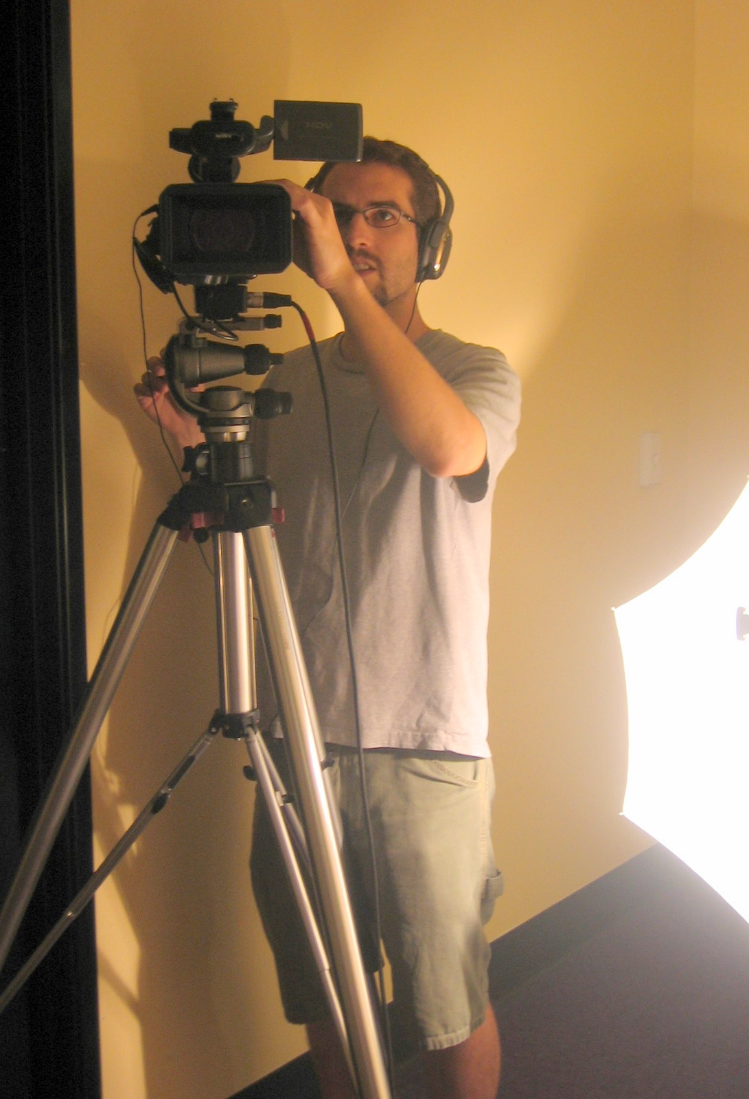 behind camera